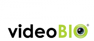 Black and green letters of videobio logo